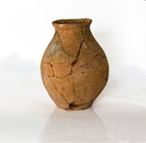 Destroyed ancient pottery. Fragments of destroyed ancient pottery from the excavations Stock Photo