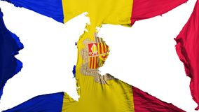 Destroyed Andorra flag. White background, 3d rendering vector illustration