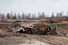 Destroyed an armored personnel carrier. Armored personnel carrier was destroyed in an ambush stock photography
