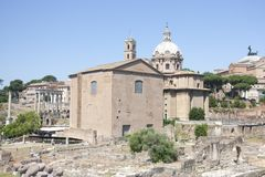The destroyed Basilica Emilia Basilica in the Roman forum. Royalty Free Stock Images