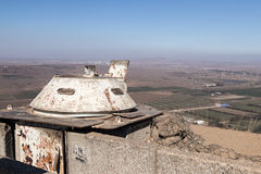 The destroyed battle tower that has remained since the War of the Doomsday Yom Kippur War on Mount Bental, on the Golan Heights in Royalty Free Stock Image