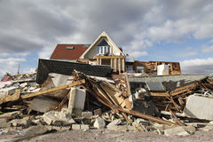 Destroyed beach house in the aftermath of Hurricane Sandy in Far Rockaway, NY Royalty Free Stock Image