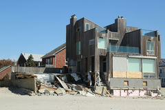Destroyed beach house in devastated area six months after Hurricane Sandy Royalty Free Stock Photo