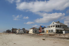 Destroyed beach house four months after Hurricane Sandy Royalty Free Stock Photos