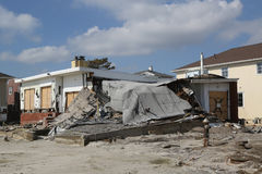Destroyed beach house four months after Hurricane Sandy Royalty Free Stock Image