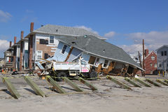 Destroyed beach house four months after Hurricane Sandy Stock Images