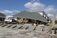 Destroyed beach house four months after Hurricane Sandy Royalty Free Stock Photography