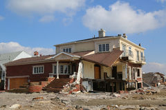Destroyed beach house four months after Hurricane Sandy Stock Image