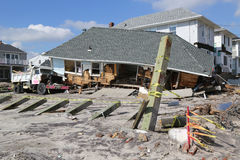 Destroyed beach house four months after  Hurricane Sandy Royalty Free Stock Photo