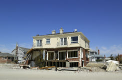 Destroyed beach house six months after  Hurricane Sandy Stock Image