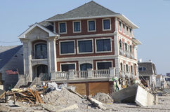 Destroyed beach houses in the aftermath of Hurrica Stock Image