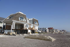 Destroyed beach houses in the aftermath of Hurricane Sandy in Far Rockaway, NY Stock Photography