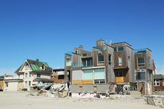 Destroyed beach houses in devastated area six months after Hurricane Sandy Stock Photos