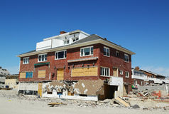 Destroyed beach houses in devastated area six months after Hurricane Sandy Royalty Free Stock Photo