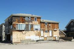 Destroyed beach houses in devastated area six months after Hurricane Sandy Stock Images
