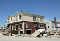 Destroyed beach houses in devastated area six months after Hurricane Sandy Stock Photo