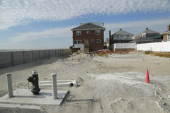 Destroyed beach property in devastated area one year after Hurricane Sandy Stock Photos