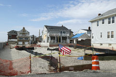 Destroyed beach property in devastated area one year after Hurricane Sandy Royalty Free Stock Image