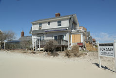 Destroyed beach property for sale in devastated area six months after Hurricane Sandy Stock Image