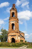 Destroyed belfry of old orthodox church stock images