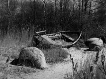 Destroyed boat as a symbol of decadence stock photo