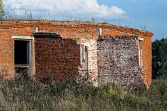 Destroyed brick building Stock Photo