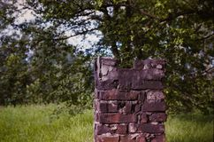 Destroyed a brick chimney on a background of greenery stock photography