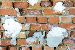 Destroyed brick wall background Royalty Free Stock Photos