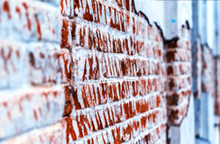 Destroyed brick wall perspective Royalty Free Stock Photos