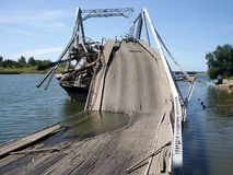 Destroyed bridge. Ship destroyed the bridge under the channel Stock Photo