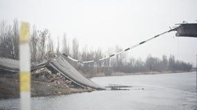 Destroyed bridge Stock Photos