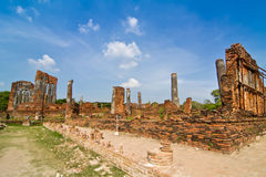 Destroyed buddhist temple in Wat Phra Sri Sanphet Royalty Free Stock Photography