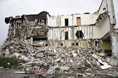 Destroyed building, debris. Series Royalty Free Stock Images