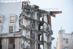 Destroyed building after demolition, man-made accident. Engineering and construction errors.  stock images