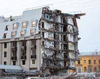 Destroyed building after demolition, man-made accident. Engineering and construction errors.  stock photos