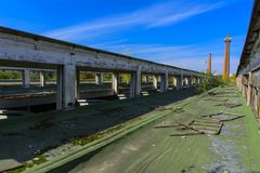 The destroyed building of the factory workshop, which worked Royalty Free Stock Photos