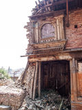 Destroyed building in kathmandu. Effects of the earthquake Stock Photos
