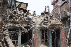 Destroyed Building in Kathmandu, Nepal after 2015 Earthquake royalty free stock image