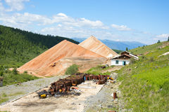 Destroyed building mines in the Altai Mountains Royalty Free Stock Image