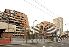 Destroyed building on Nemanjina street in Belgrade. Serbia Stock Photo