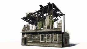 Destroyed building - ruin. On a white background stock illustration