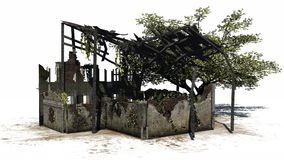 Destroyed building - ruin. On a white background royalty free illustration