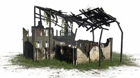 Destroyed building - ruin. On a white background vector illustration