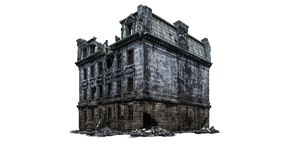 Destroyed Building ruins. Isolated on white background. 3D Rendering, Illustration royalty free illustration