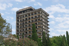 The destroyed building of the sanatorium of the Soviet period Stock Photos