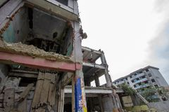 Destroyed building in 2008 Sichuan Earthquake Memorial Site. 2008 Sichuan Earthquake Memorial Site. Buildings after the big earthquake in Wenchuan, Sichuan stock photography