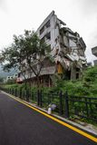 Destroyed building in 2008 Sichuan Earthquake Memorial Site. 2008 Sichuan Earthquake Memorial Site. Buildings after the big earthquake in Wenchuan, Sichuan royalty free stock photos