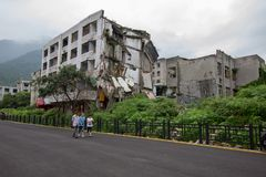Destroyed building in 2008 Sichuan Earthquake Memorial Site. 2008 Sichuan Earthquake Memorial Site. Buildings after the big earthquake in Wenchuan, Sichuan royalty free stock images