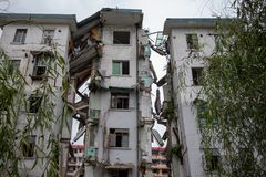 Destroyed building in 2008 Sichuan Earthquake Memorial Site. 2008 Sichuan Earthquake Memorial Site. Buildings after the big earthquake in Wenchuan, Sichuan stock photo