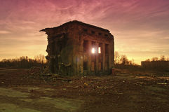 Destroyed building at sunset Royalty Free Stock Photo